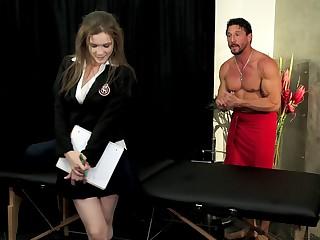Brunette amanuensis gets a massage and a unerring poundage