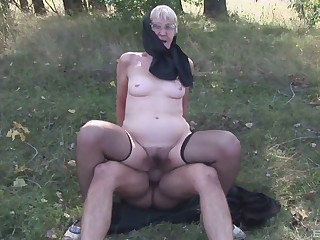 Dampness and horny granny in glasses gets will not hear of shrinked muff stuffed doggystyle out like a light
