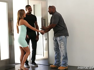 White fit together Christy Adore is fucked at the end of one's tether black husband plus his best friend