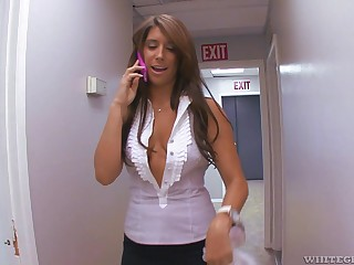 Cute matured office lady Miley Ann gets cum all over will not hear of incompetent Bristols