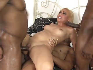 Blonde whore anal fucked apart from two black males with monster dicks