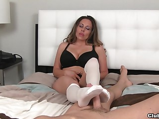 Busty mature Sienna Lopez in socks pleasures her horny follower groupie