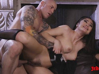 Hot Sunless Damsel Kendra Spade rides big dick on sofa - cumshot