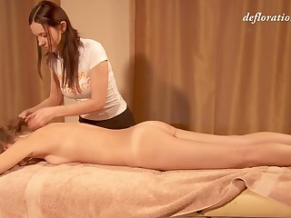 Nice erotic massage with lots of oil is what sexy Elena Seregyna needs