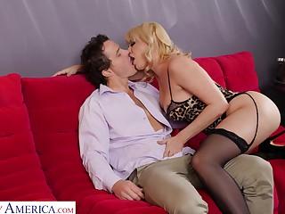 Inviting blonde babe in black lingerie Dana DeArmond gonna leman doggy