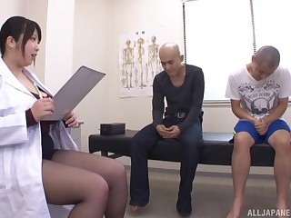 Big boobs Japanese Shizuku Amayoshi and two bush-league dudes. HD