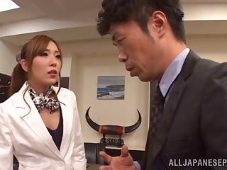 Hardcore fucking between a boss and seductive secretary Rin Sakuragi