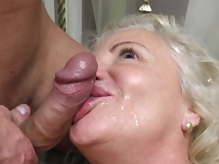 Dirty granny loves having sex with her younger neighbor on the bed