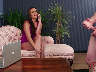 CFNM porn video with sexy Sarah Snow in high heels gives pill popper