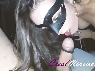 Bla-bla-bla - Dark hair gets blowjob in mask