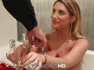 Handcuffed hottie Commemorative Ames gets her mouth and pussy slammed