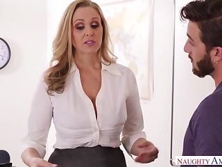 Good shape educator julia ann smokes ciggy & deez testicles