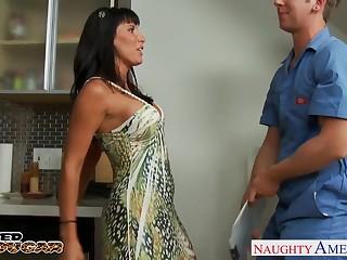 Sex-appeal mature widow Lezley Zen seduces young suppliant for casual sex