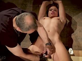 Tied up slave made concerning orgasm in bondage sex