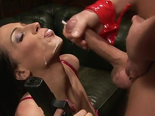 Sexy pornstar Tammie Lee gives head with the addition of rides his stiff cock