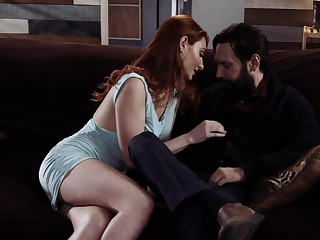 Bearded tattooed guy fucks deep throat and wet pussy of in flames haired hottie Lacy Lennon