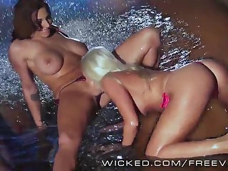 Two perfect lesbians fuck with reference to the pool
