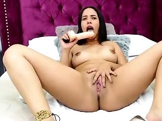 Kinky slimy taco brunette anal knick-knack play during masturbating