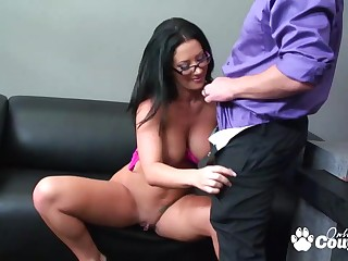 Perfect body Jayden Jaymes riding on massive dick on black couch