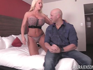 Light-complexioned chick Alura Jenson fucks with a neighbor while her tits bounce