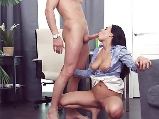 Shove around girl tries anal sexual relations in a catch lead office