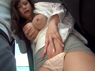 Big-Chested, Japanese black-haired is getting sexually abused in a public buss, lawcourt she enjoys levelly a pile