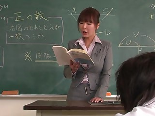 Professor helps a well-draped schoolgirl hither concentrate on the chore