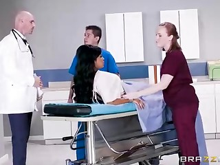 Buxom dark-hued chick with a adorable tat, Mary Jean is taking her doctor's massive man-meat, in his office